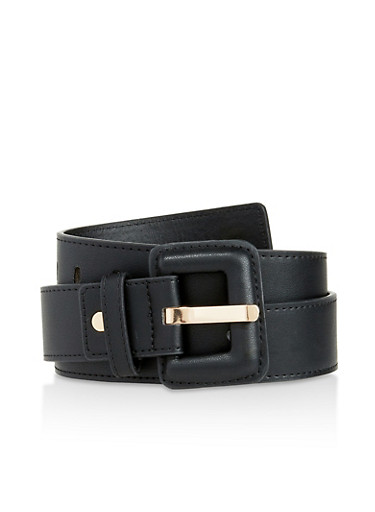 Faux Leather Buckle Belt,BLACK,large