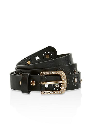 Rhinestone Studded Faux Leather Belt,BLACK,large