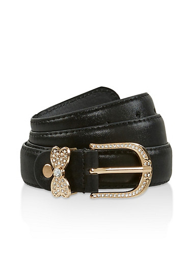 Rhinestone Butterfly Loop Faux Leather Belt,BLACK,large