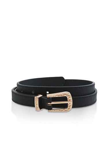 Faux Leather Skinny Belt,BLACK,large
