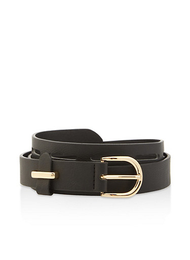 Faux Leather Laser Cut Belt,BLACK,large