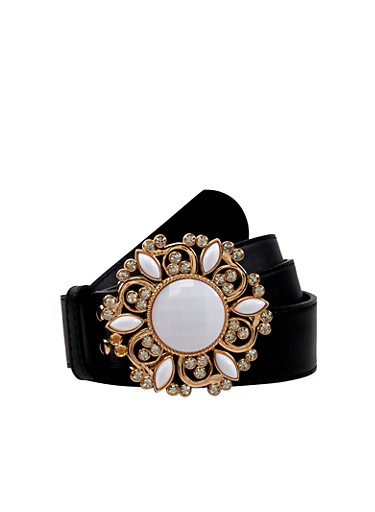 Plus Size Jeweled Buckle Faux Leather Belt | Tuggl