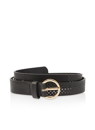 Laser Cut Faux Leather Belt,BLACK,large