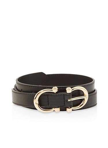 Double Horseshoe Buckle Faux Leather Belt,BLACK,large