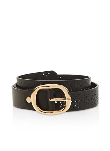 Faux Leather Laser Cut Belt,BLACK,large