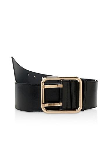 Plus Size Faux Saffiano Leather Belt,BLACK,large