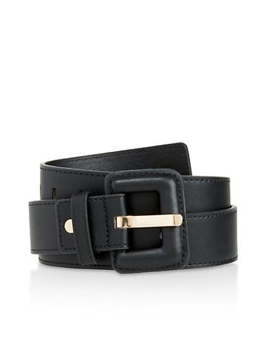 Plus Size Faux Leather Square Buckle Belt,BLACK,large