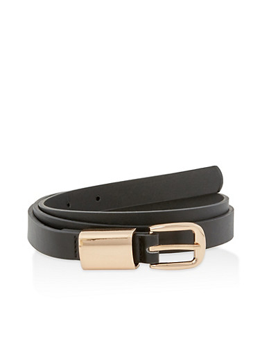 Wide Metallic Loop Faux Leather Belt,BLACK,large