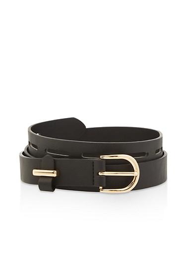 Plus Size Faux Leather Laser Cut Belt,BLACK,large