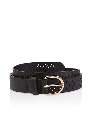 Laser Cut Faux Leather Belt,BLACK,large