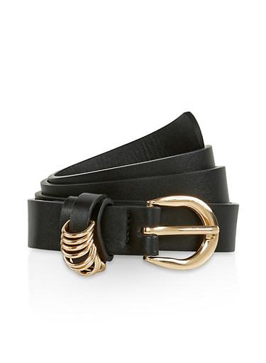 Metallic Loop Detail Faux Leather Belt,BLACK,large