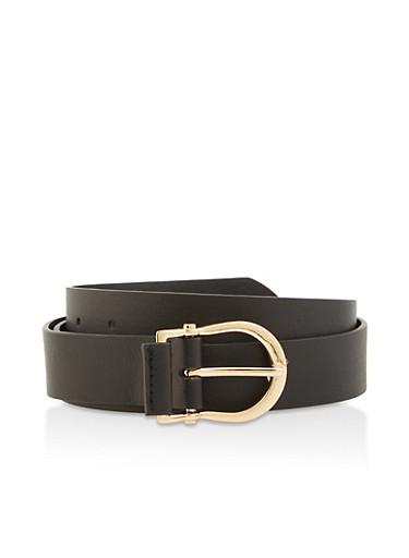 Plus Size Faux Leather Horseshoe Buckle Belt,BLACK,large