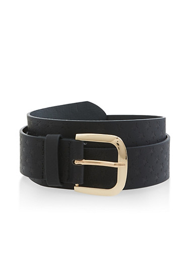 Star Embossed Faux Leather Belt,BLACK,large