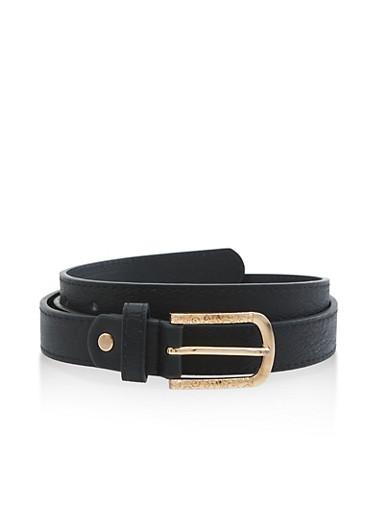 Metallic Detail Buckle Skinny Belt,BLACK,large
