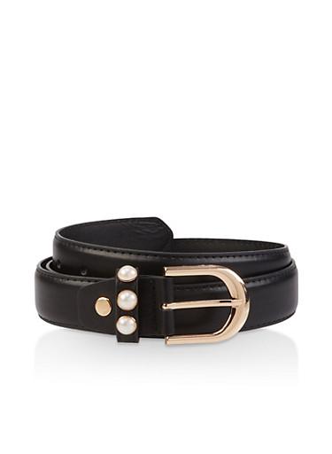 Faux Pearl Detail Belt,BLACK,large