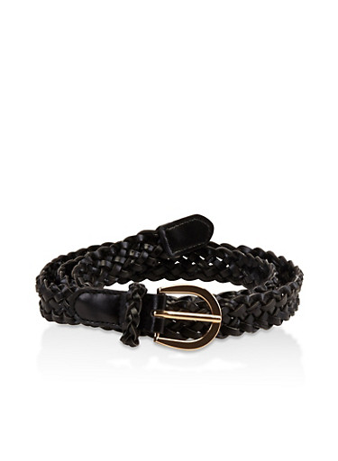 Faux Leather Braided Belt,BLACK,large