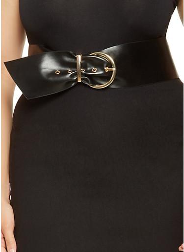 Plus Size Faux Leather Waist Belt,BLACK,large