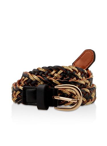 Glitter Woven Faux Leather Belt,BLACK,large