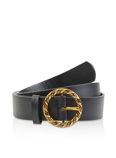 Circular Buckle Faux Leather Belt,BLACK,large