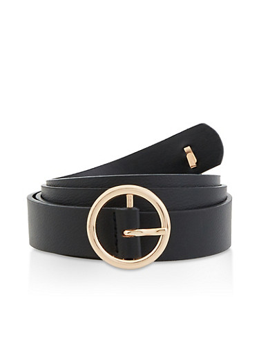 Bee Detail Skinny Faux Leather Belt,BLACK,large