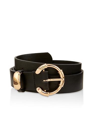 Faux Leather Open Buckle Belt,BLACK,large