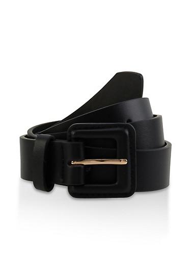 Square Buckle Belt,BLACK,large