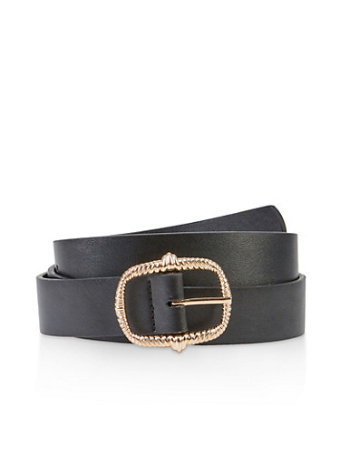 Plus Size Hammered Metallic Buckle Belt,BLACK,large