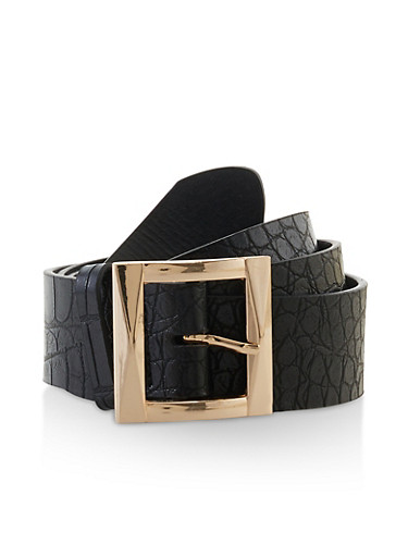 Faux Croc Leather Belt,BLACK,large
