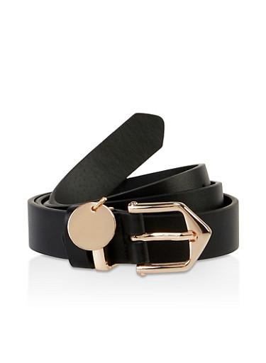 Loop Charm Faux Leather Belt,BLACK,large