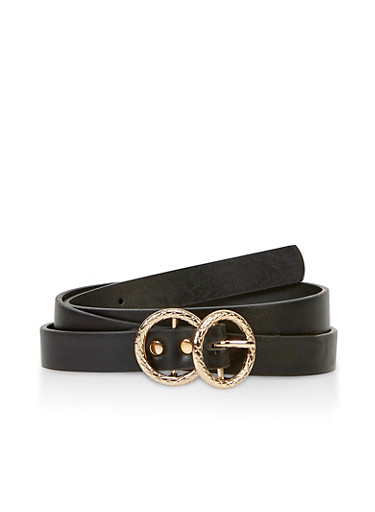 Textured Metallic Double Circle Buckle Belt,BLACK,large