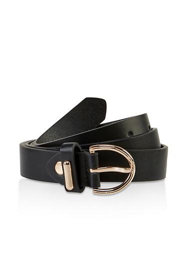 D Ring Buckle Faux Leather Belt,BLACK,large