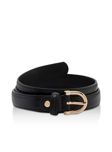 D Ring Buckle Skinny Belt,BLACK,large