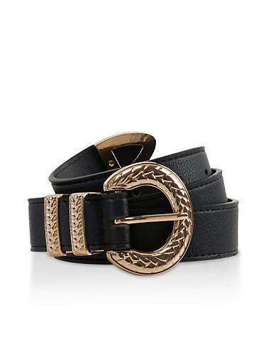Textured Metallic Buckle Belt,BLACK,large