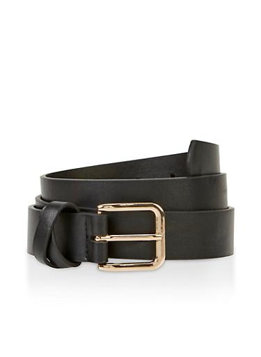 Criss Cross Loop Faux Leather Belt,BLACK,large