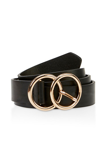 Double Circle Buckle Belt,BLACK,large