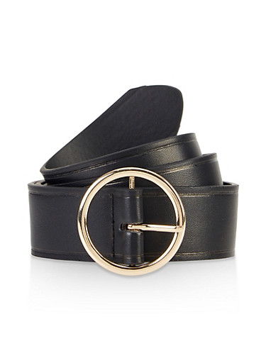 Metallic Circle Buckle Belt,BLACK,large
