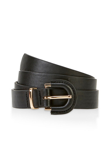 Covered Buckle Faux Leather Belt,BLACK,large