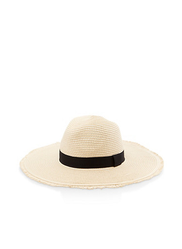 Frayed Straw Floppy Sun Hat,NATURAL,large