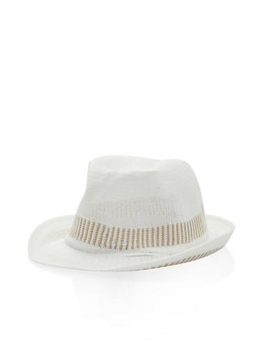 Two Tone Knit Fedora,WHITE,large
