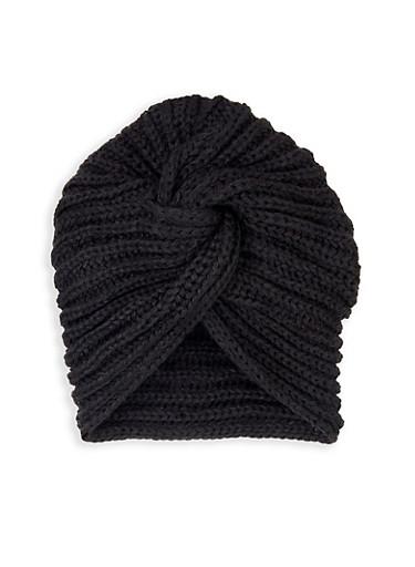 Knit Twist Front Turban Head Wrap,BLACK,large