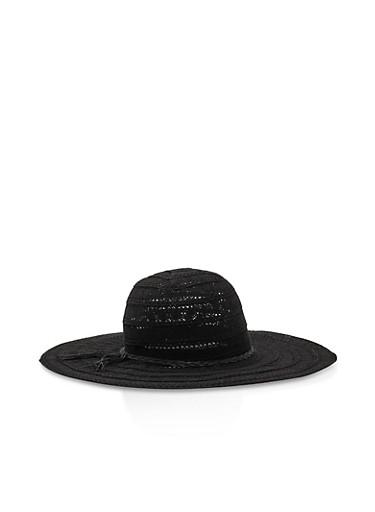 Crochet Floppy Sun Hat,BLACK,large