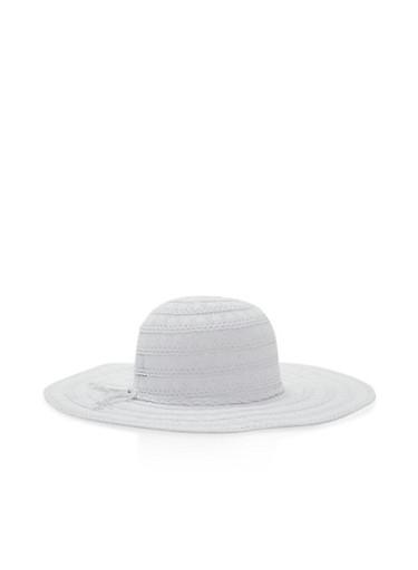 Crochet Floppy Sun Hat,WHITE,large