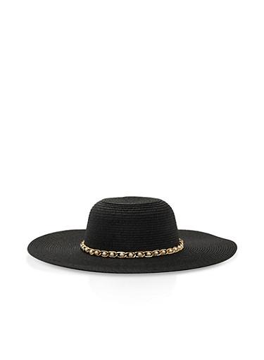 Faux Pearl Chain Trim Floppy Hat,BLACK,large