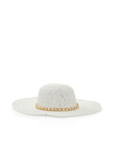 Faux Pearl Chain Trim Floppy Hat,WHITE,large