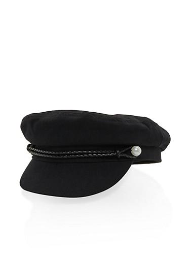 Faux Pearl Braided Newsboy Cap,BLACK,large