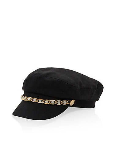 Faux Pearl Chain Link Newsboy Cap,BLACK,large