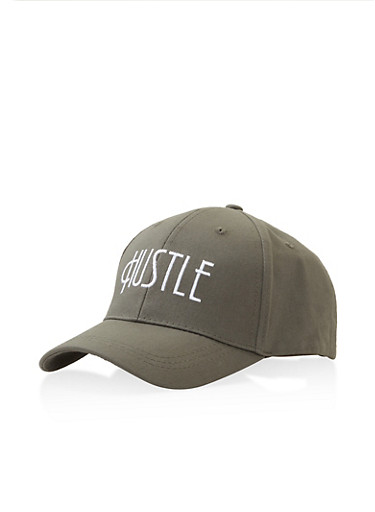Hustle Graphic Embroidered Baseball Cap,OLIVE,large