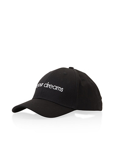 In Your Dreams Graphic Embroidered Baseball Cap,BLACK,large
