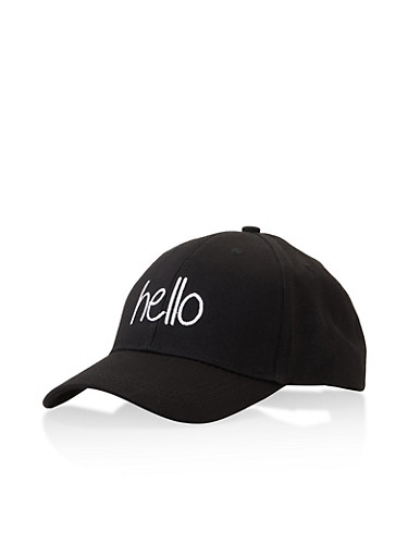 Hello Graphic Embroidered Baseball Cap,BLACK,large