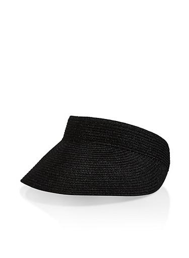 Elastic Band Straw Visor,BLACK,large